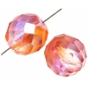 Fire polished 10mm Crystal/orange/rose Two-tone Aurora Borealis